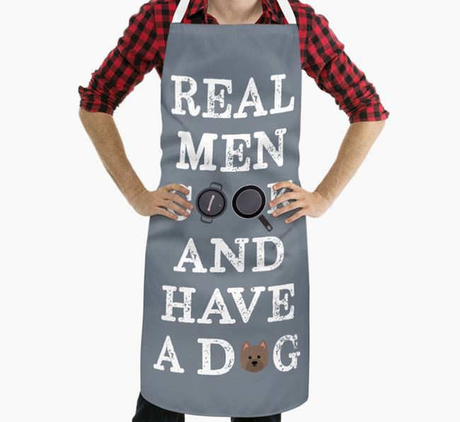'Real Men Cook And Have A Dog' Apron with Westiepoo Icon