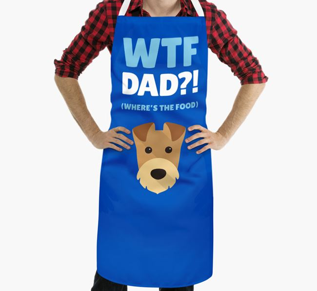 'Where's The Food Dad?!' Apron with Airedale Terrier Icon