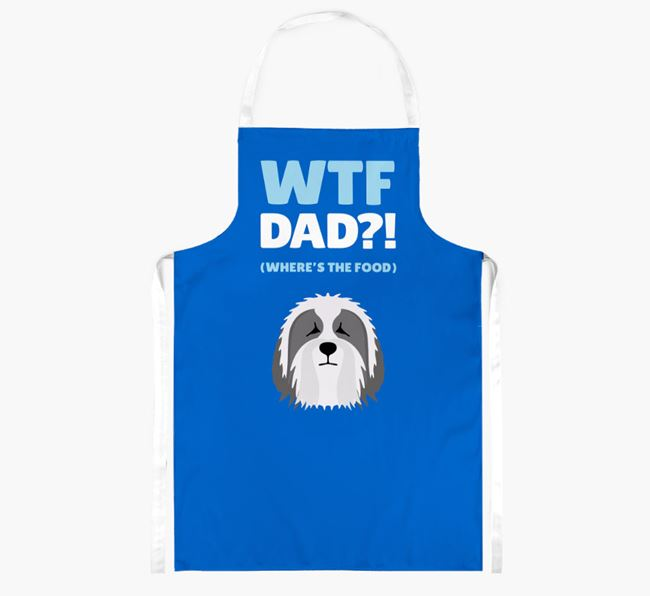 'Where's The Food Dad?!' Apron with Bearded Collie Icon