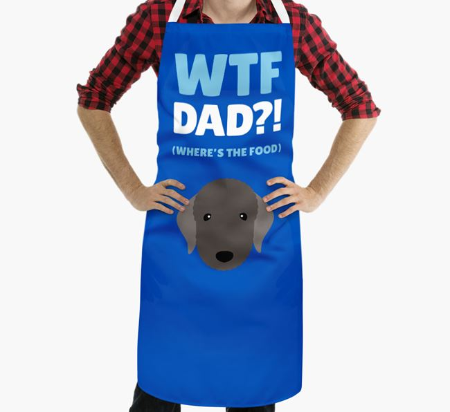 'Where's The Food Dad?!' Apron with Bedlington Terrier Icon