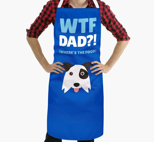 'Where's The Food Dad?!' Apron with Border Collie Icon