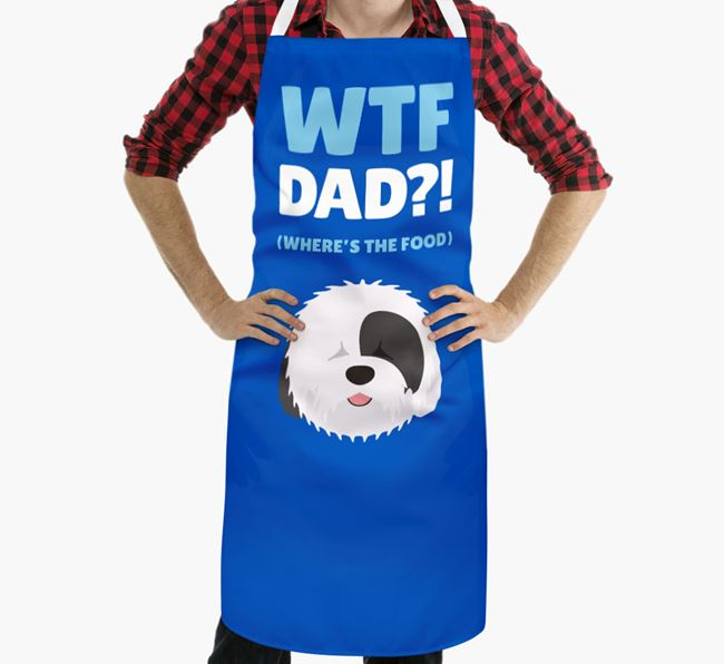 'Where's The Food Dad?!' Apron with Old English Sheepdog Icon