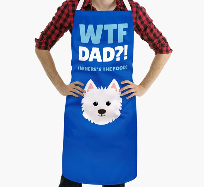 'Where's The Food Dad?!' Apron with Westiepoo Icon