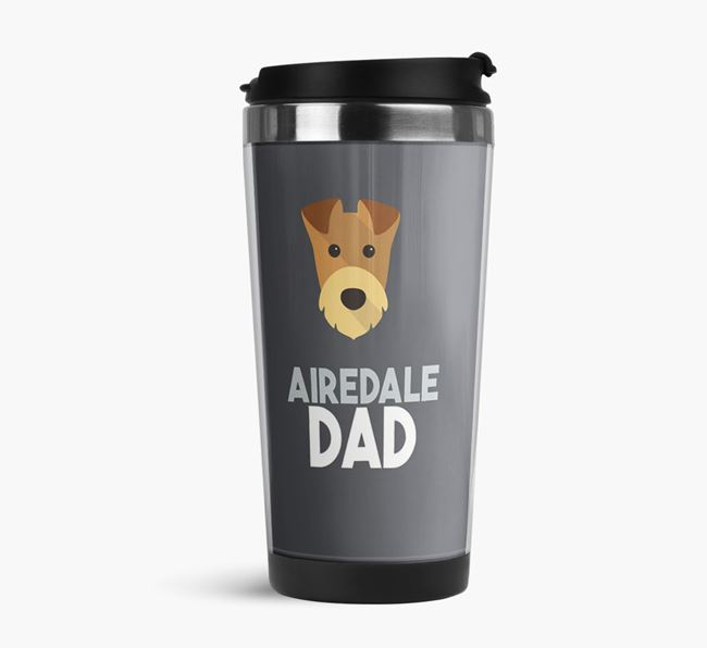 'Airedale Dad' Reusable Mug with Airedale Terrier Icon