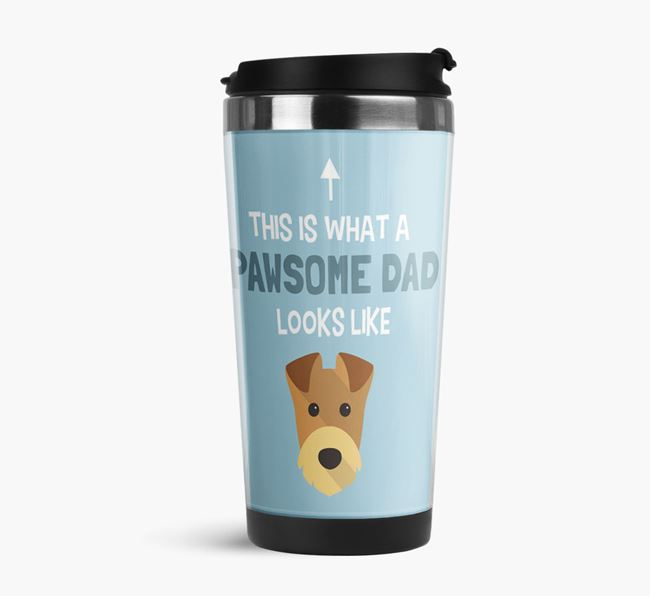 'This is what a pawsome Dad looks like!' Travel Mug with Airedale Terrier Icon