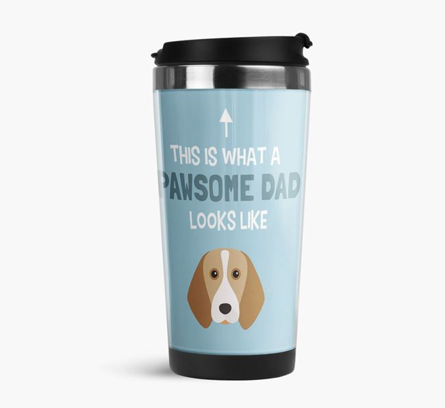 'This is what a pawsome Dad looks like!' Travel Mug with Beagle Icon