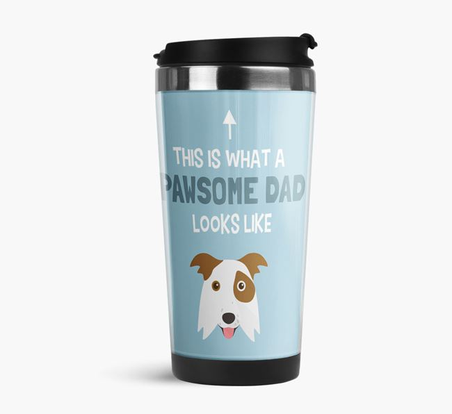 'This is what a pawsome Dad looks like!' Travel Mug with Border Collie Icon