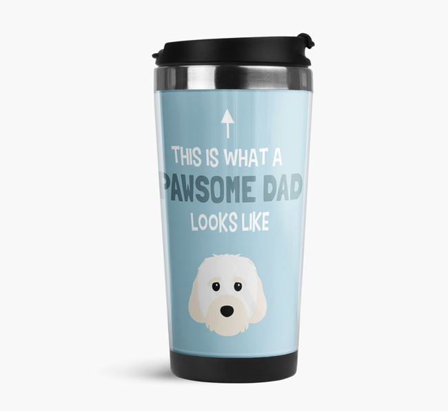 'This is what a pawsome Dad looks like!' Travel Mug with Cavachon Icon