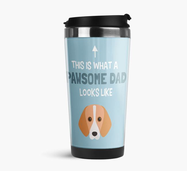 'This is what a pawsome Dad looks like!' Travel Mug with Foxhound Icon