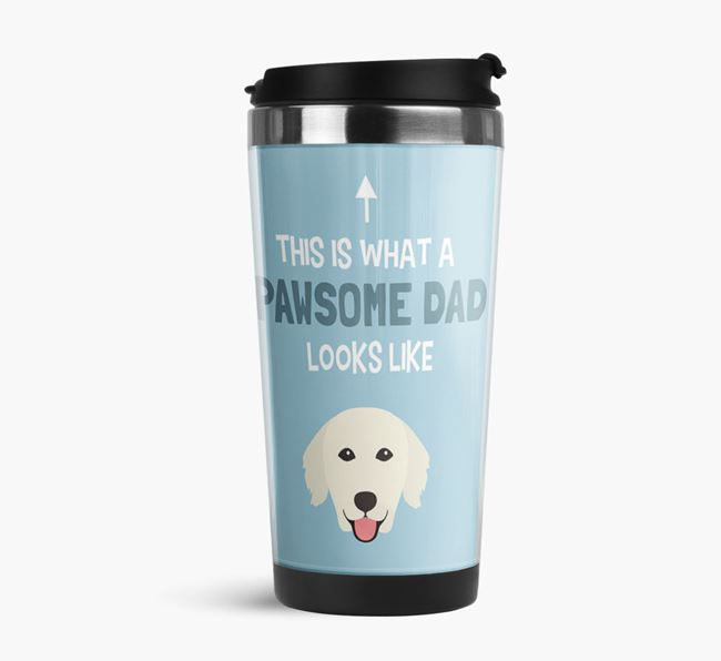 'This is what a pawsome Dad looks like!' Travel Mug with Golden Retriever Icon