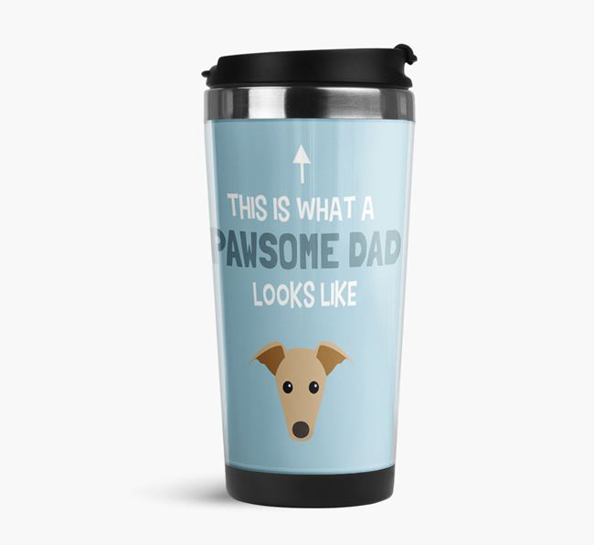 'This is what a pawsome Dad looks like!' Travel Mug with Greyhound Icon