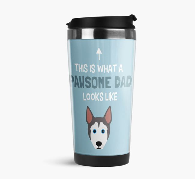 'This is what a pawsome Dad looks like!' Travel Mug with Pitsky Icon