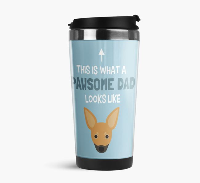 'This is what a pawsome Dad looks like!' Travel Mug with Russian Toy Icon
