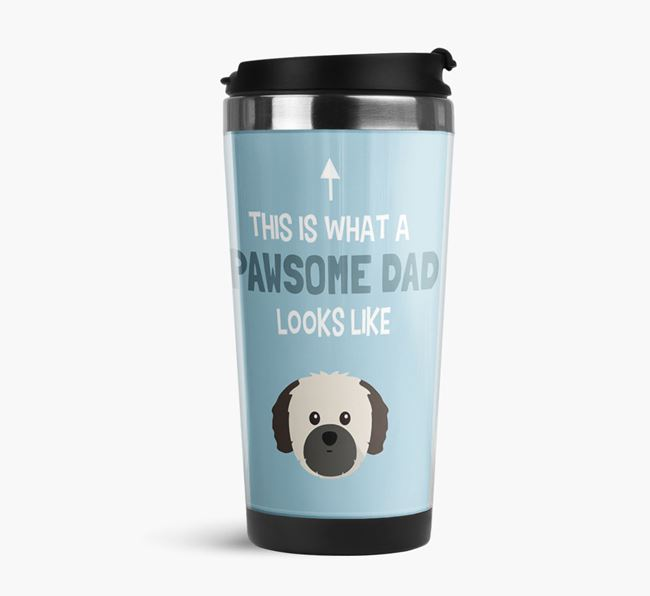 'This is what a pawsome Dad looks like!' Travel Mug with Shih Tzu Icon