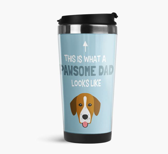 'This is what a pawsome Dad looks like!' Travel Mug with Springador Icon