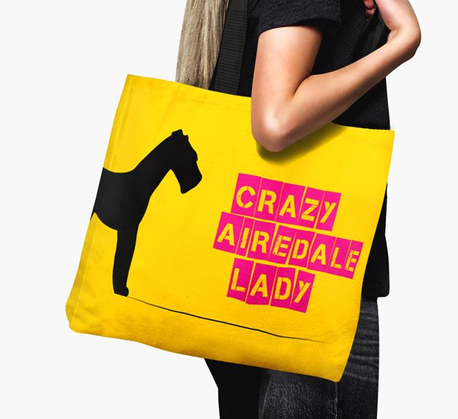 Crazy Airedale Lady Canvas Bag