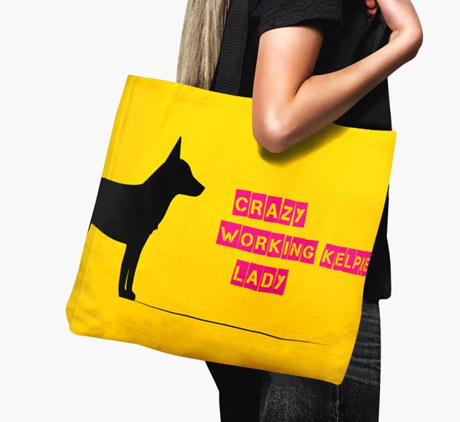 Crazy Working Kelpie Lady Canvas Bag