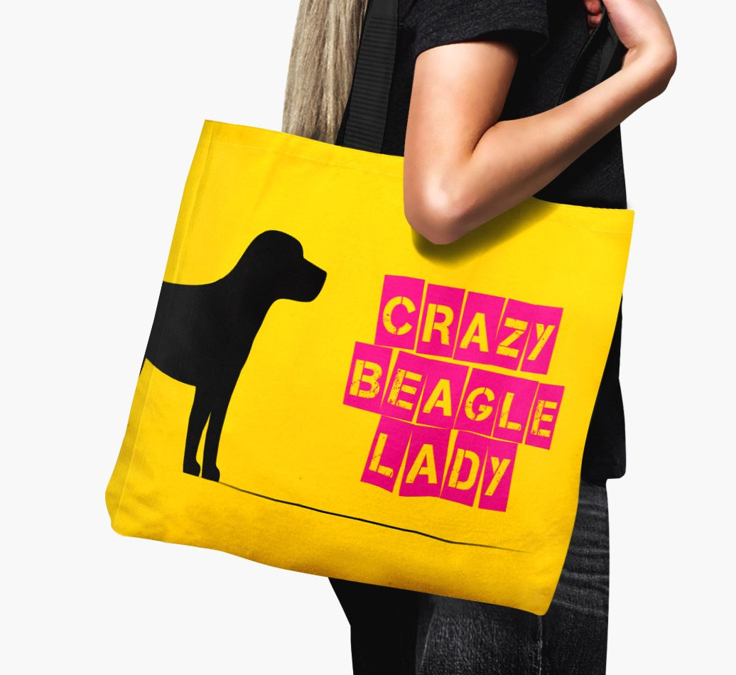 Woman holding {colour} Crazy Beagle Lady Canvas Bag