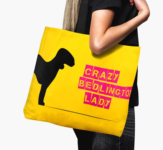 Crazy Bedlington Lady Canvas Bag