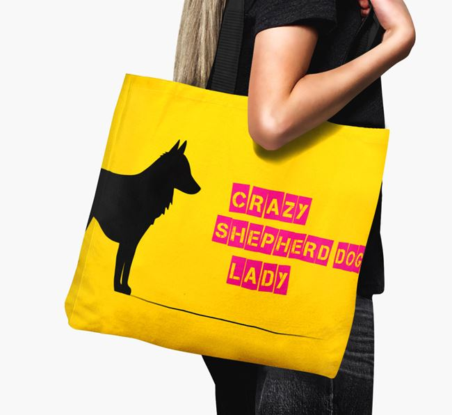 Crazy Shepherd dog Lady Canvas Bag