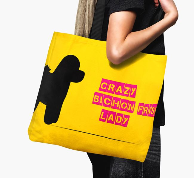 Crazy Bichon Frise Lady Canvas Bag