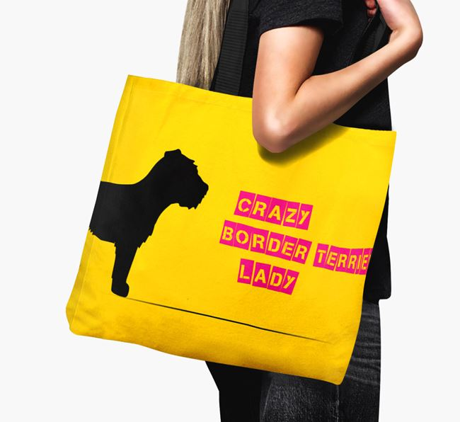 Crazy Border Terrier Lady Canvas Bag