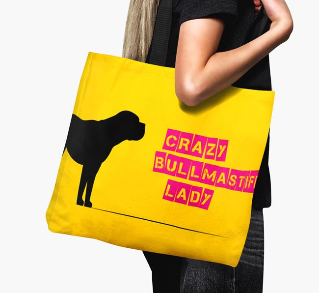 Crazy Bullmastiff Lady Canvas Bag