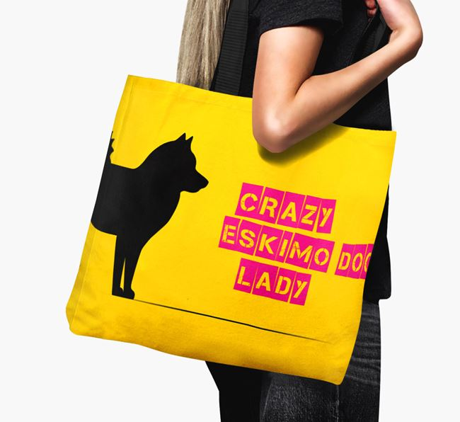 Crazy Eskimo Dog Lady Canvas Bag