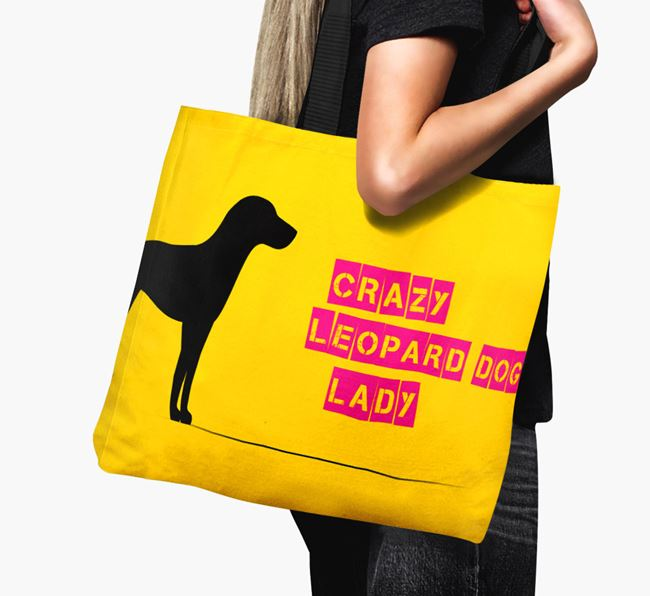 Crazy Leopard Dog Lady Canvas Bag