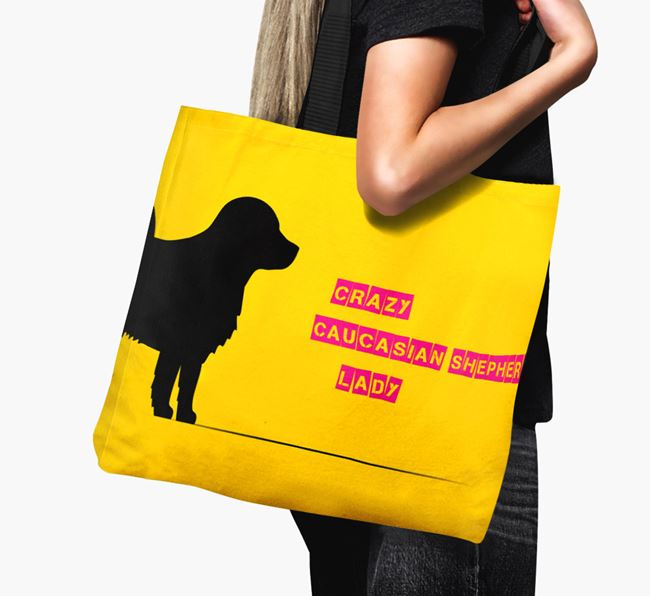 Crazy Caucasian Shepherd Lady Canvas Bag