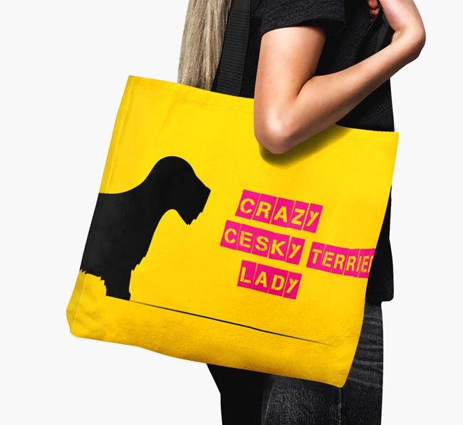Crazy Cesky Terrier Lady Canvas Bag