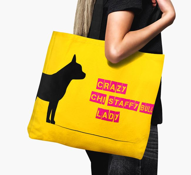 Crazy Chi Staffy Bull Lady Canvas Bag