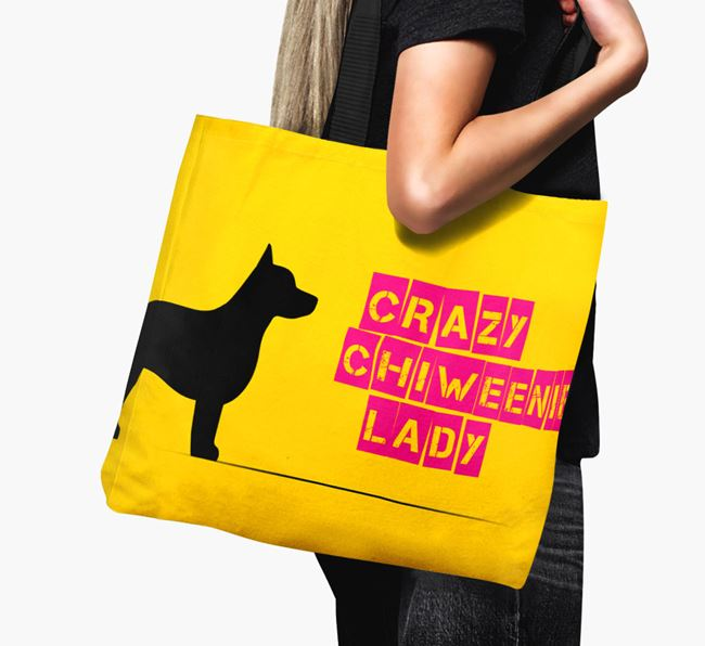 Crazy Chiweenie Lady Canvas Bag