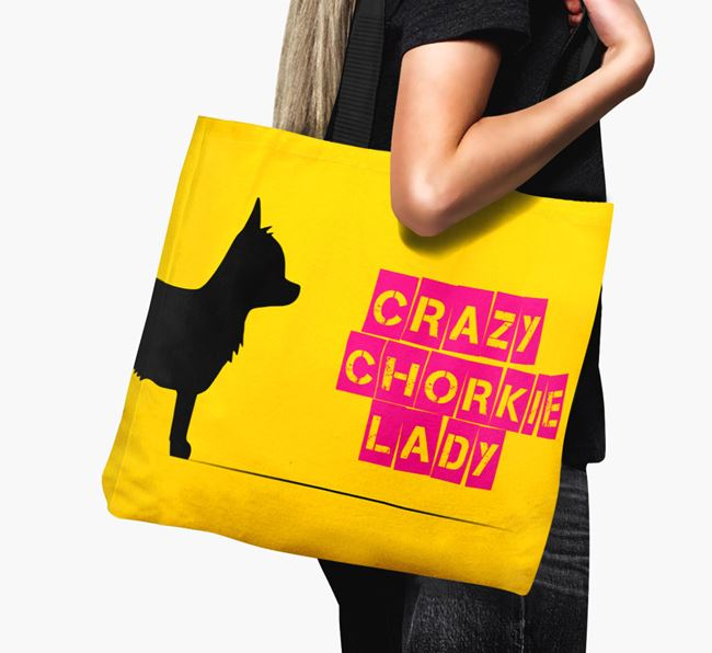 Crazy Chorkie Lady Canvas Bag