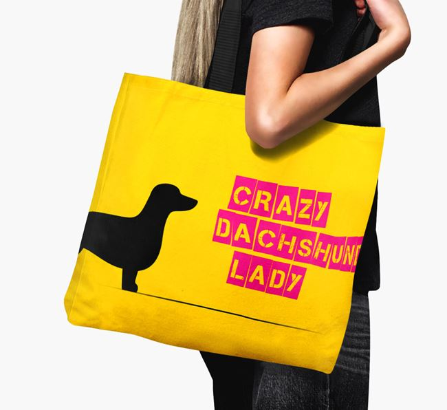 Crazy Dachshund Lady Canvas Bag