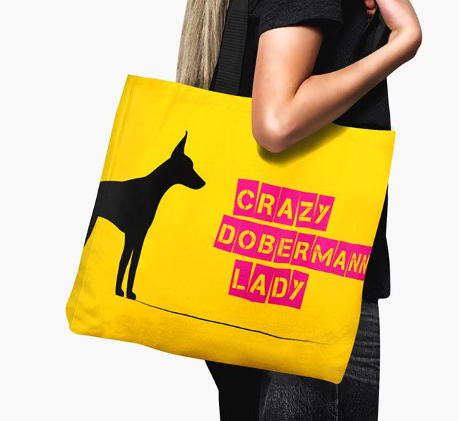 Crazy Dobermann Lady Canvas Bag