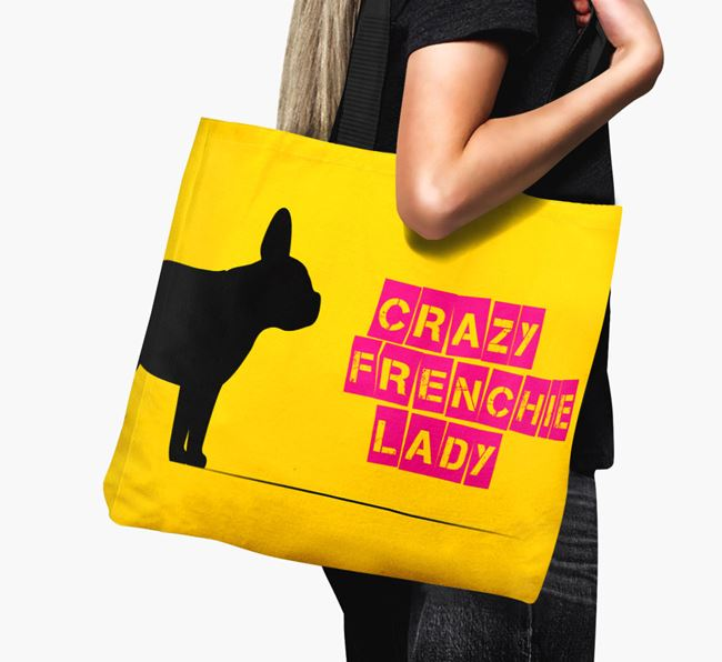 Crazy Frenchie Lady Canvas Bag