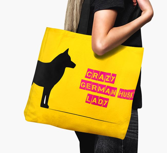 Crazy German Husky Lady Canvas Bag