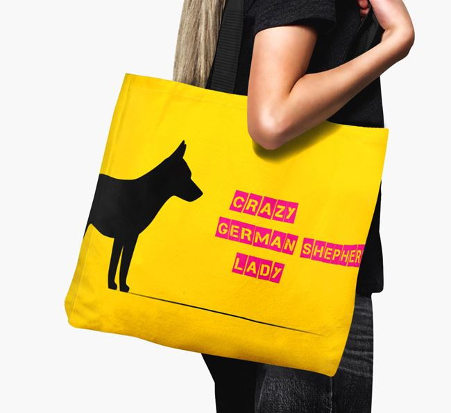 Crazy German Shepherd Lady Canvas Bag