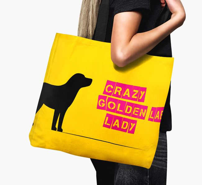 Crazy Golden Lab Lady Canvas Bag