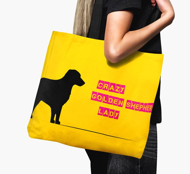 Crazy Golden Shepherd Lady Canvas Bag