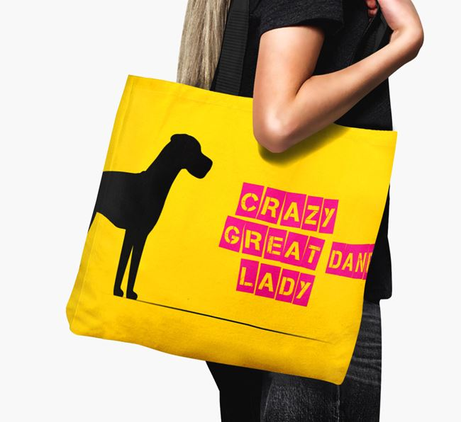 Crazy Great Dane Lady Canvas Bag