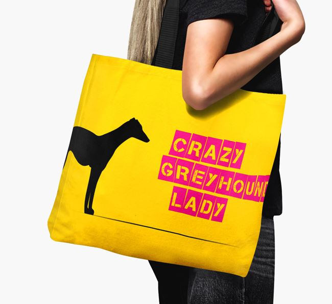 Crazy Greyhound Lady Canvas Bag