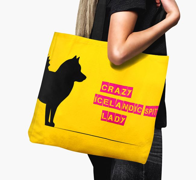 Crazy Icelandic Spitz Lady Canvas Bag