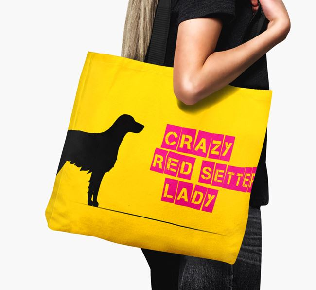 Crazy Red Setter Lady Canvas Bag