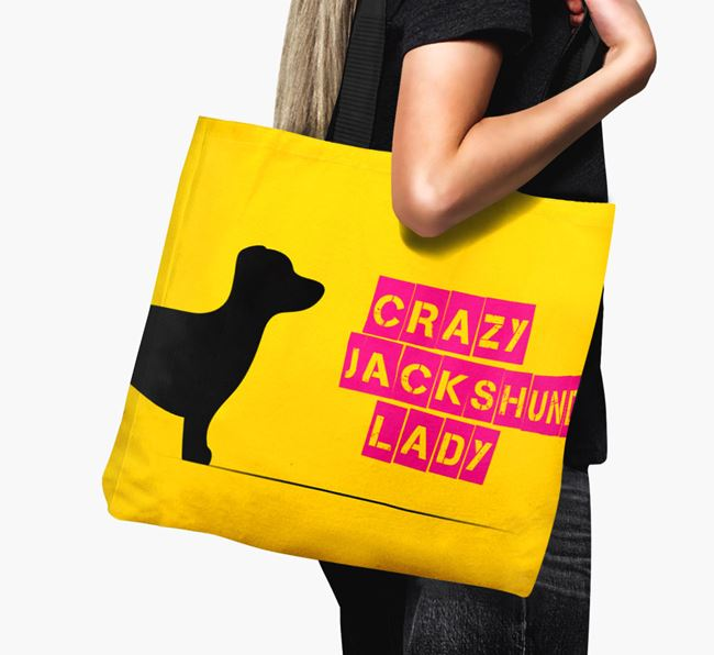 Crazy Jackshund Lady Canvas Bag