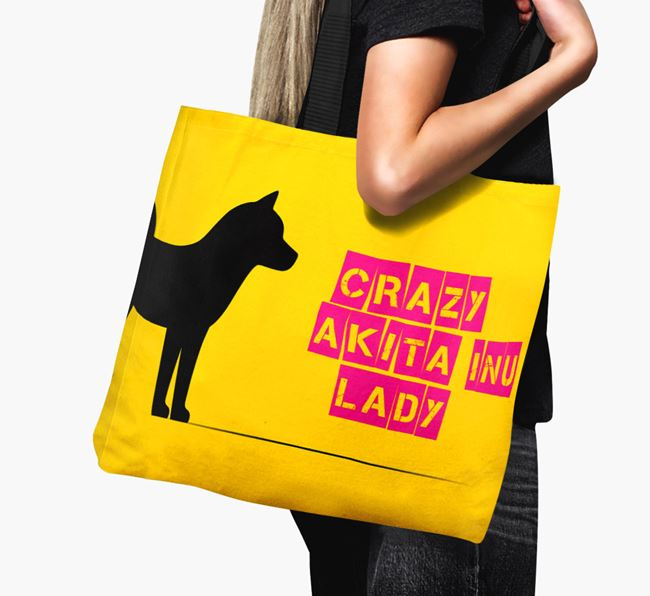 Crazy Akita Inu Lady Canvas Bag