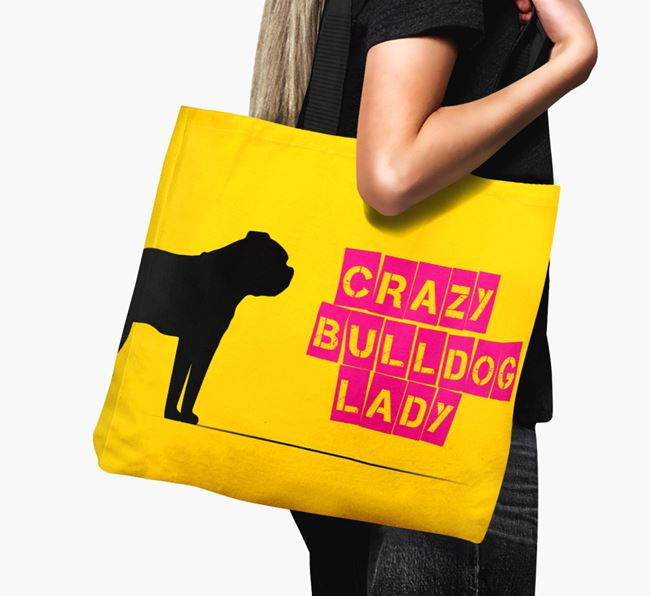 Crazy Bulldog Lady Canvas Bag