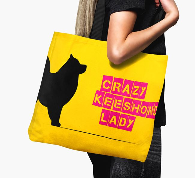Crazy Keeshond Lady Canvas Bag