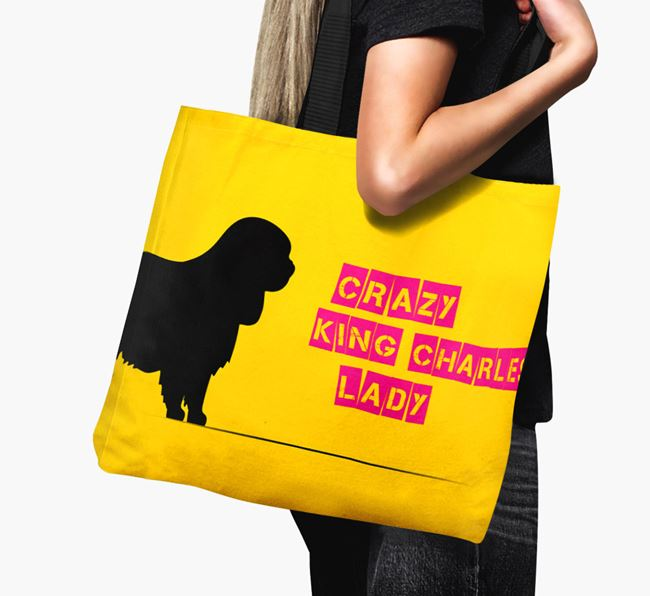 Crazy King Charles Lady Canvas Bag